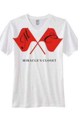 Mens White Crew w/ Red logo